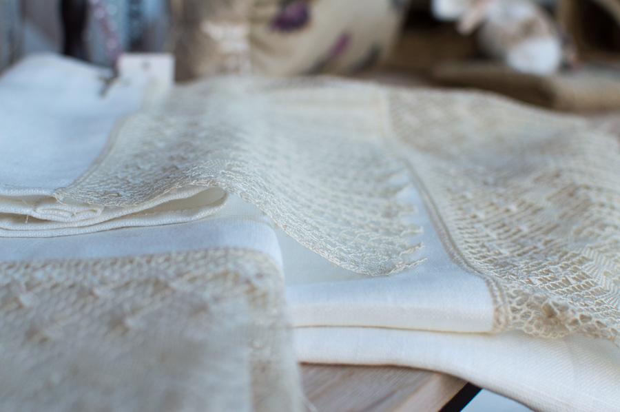 Toalla de lino de encaje de Camariñas